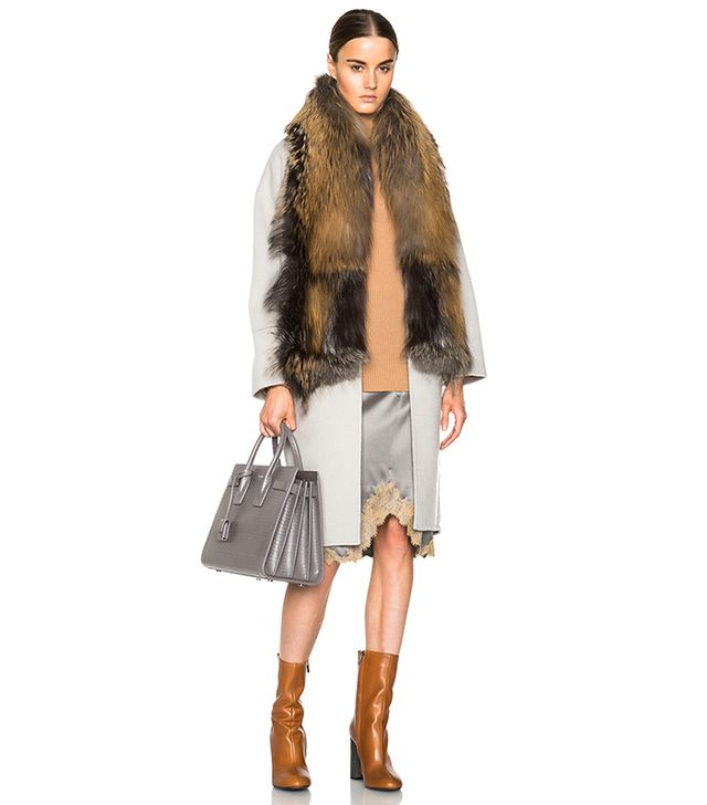 Sally LaPointe Double Splittable Wool Cocoon Coat With Fur Collar