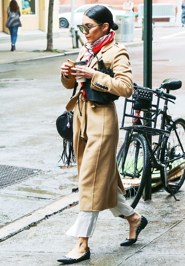 Camel coat + colorful scarf + cropped trousers