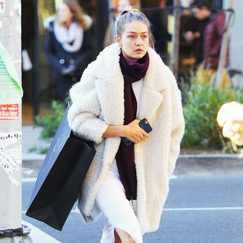 Teddy bear coat + midi dress + sneakers