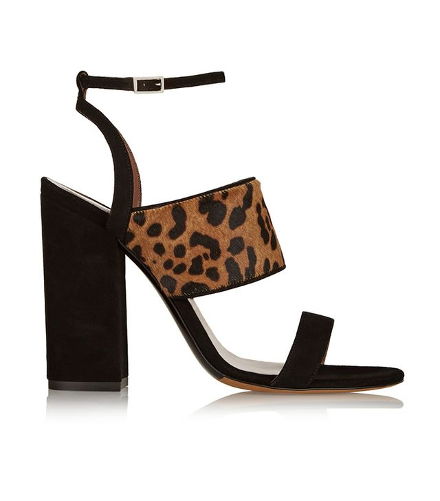 Tabitha Simmons Stevie Leopard-Pring Calf Hair and Suede Sandals