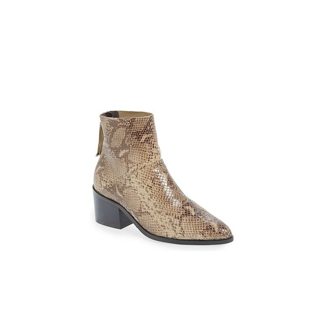 Topshop Midnight Snake Embossed Ankle Boots