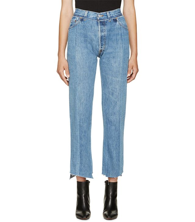 Vetements Blue Faded Panelled Jeans
