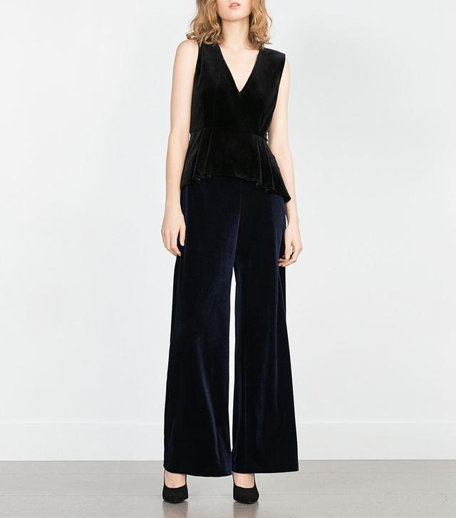 Zara Wide Leg Velvet Trousers