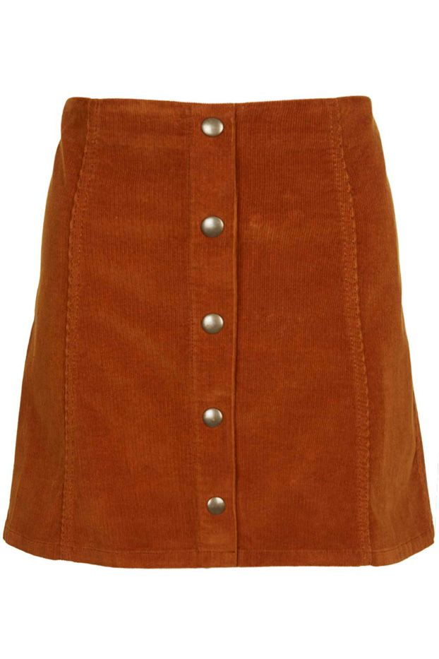 Topshop Cord Button Front A-Line Skirt