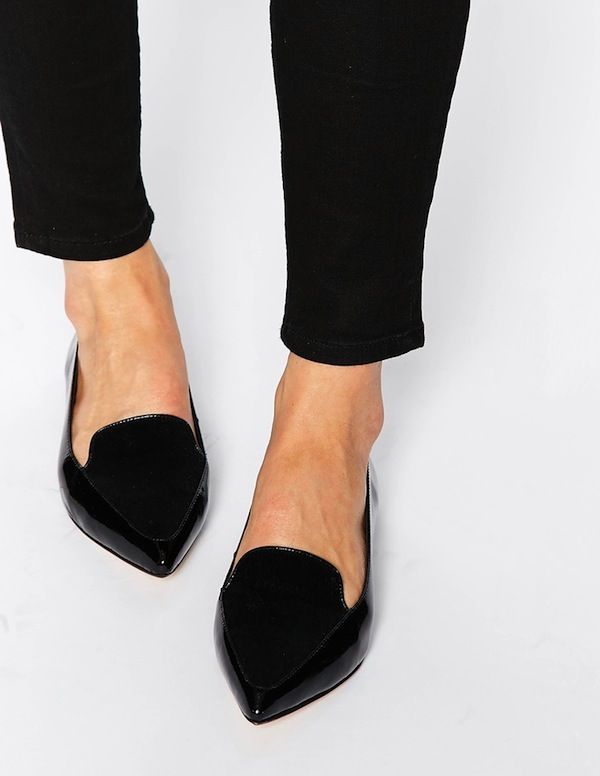 Dune Austine Black Patent Pony Effect Ponited Flat Shoes
