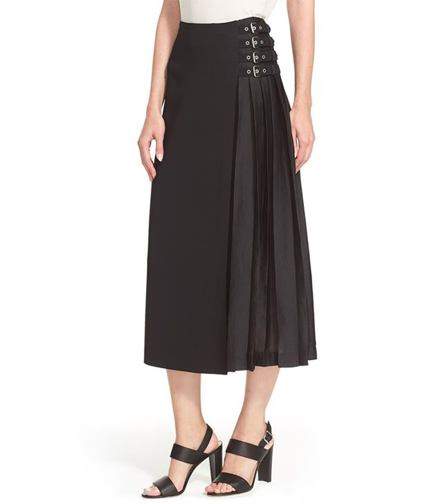 A.L.C. Booth Belt Detail Pleated Midi Skirt