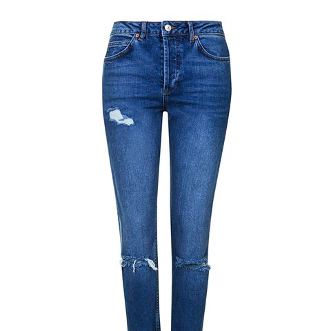 Moto Ripped Straight Jeans