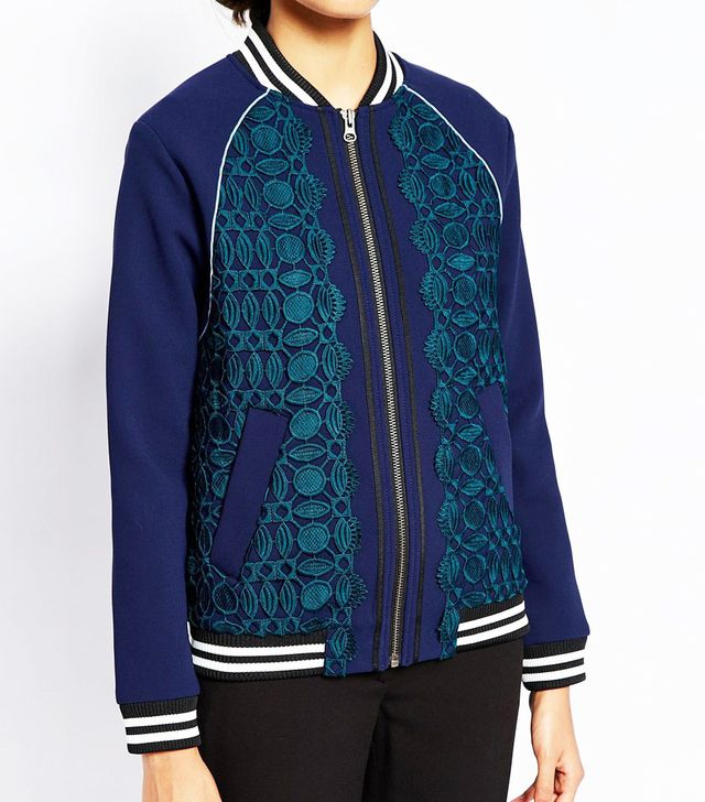 Self Portrait Scalloped Edge Bomber Jacket
