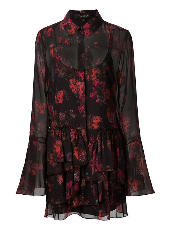 Thakoon Printed Ruffle Shirt Dress