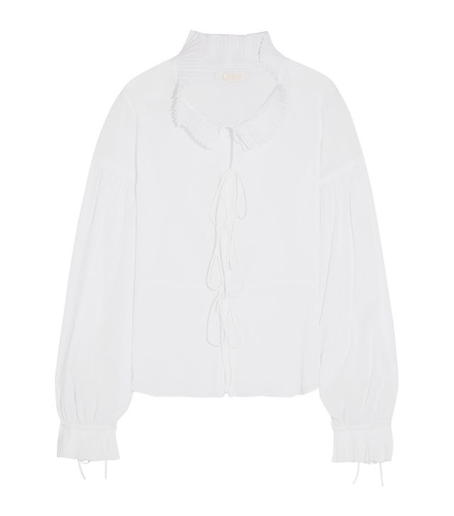 Chloé Pleated Crinkled-Cotton Blouse