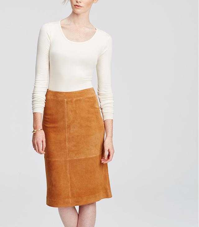 Ann Taylor Suede Midi Skirt