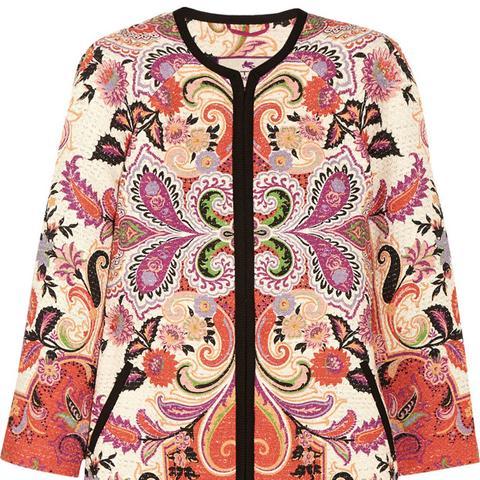 Printed Cotton Blend Tweed Coat