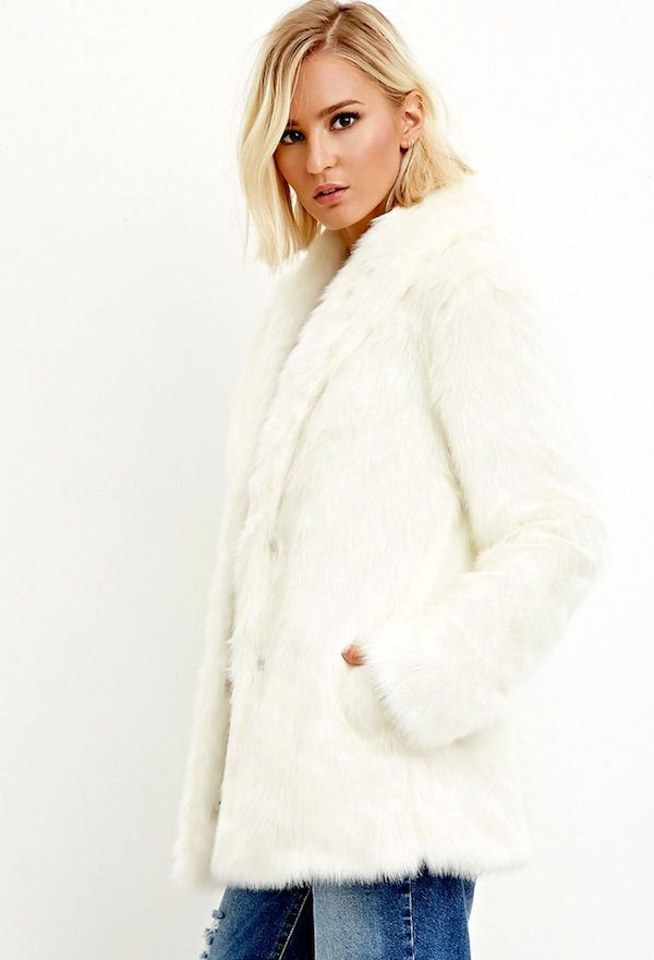 Forever 21 Shawl Collar Faux Fur Coat
