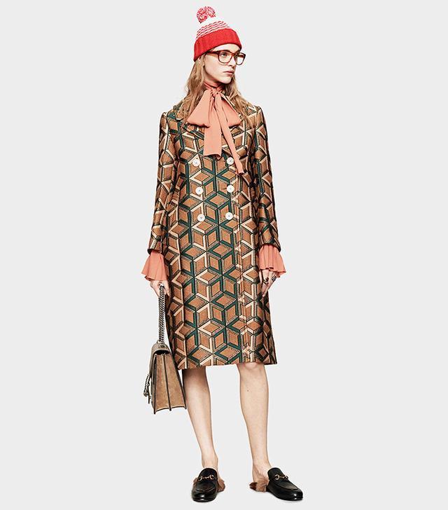 Gucci Losanga Wool Jacquard Coat