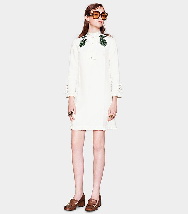 Gucci Cotton Linen Embroidered Dress