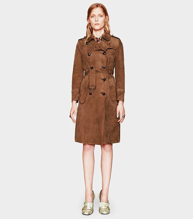 Gucci Suede Belted Trench Coat