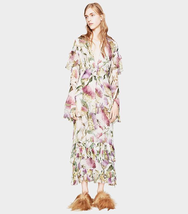 Gucci Thistles and Birds Print Silk Dress