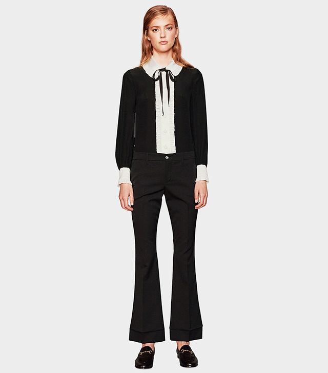 Gucci Stretch Wool-Silk Cropped Pant