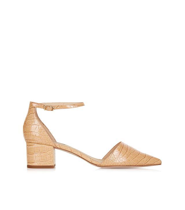Topshop Jive Croc-Effect Mid-Heel Shoes