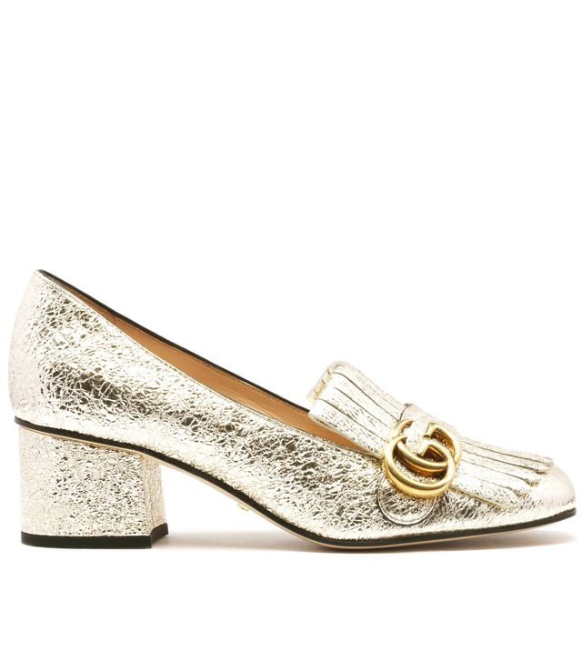 Gucci Metallic Mid-Heel Pumps