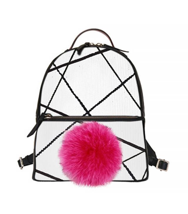 Les Petits Joueurs Mick Mini Fur-Pom Bunny Backpack, White/Black