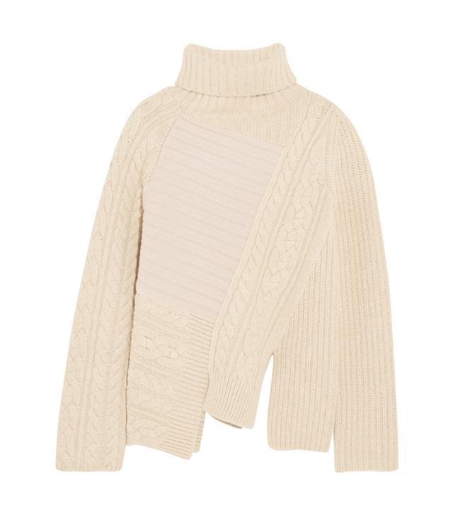 Joseph Asymmetric Contrast-Knit Wool Turtleneck Sweater