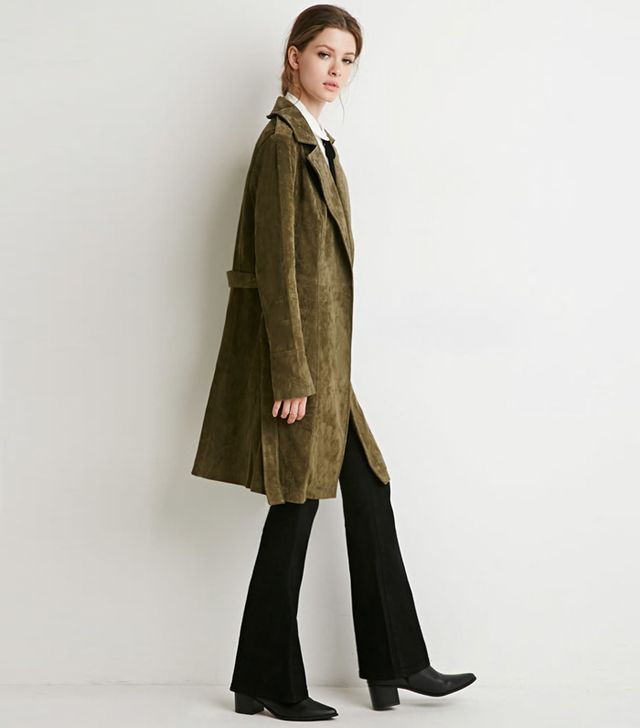 Forever 21 Contemporary Genuine Suede Belted Trenchcoat