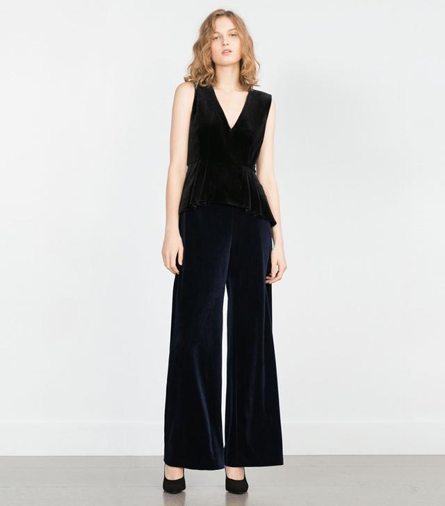 Zara Wide-Leg Velvet Trousers