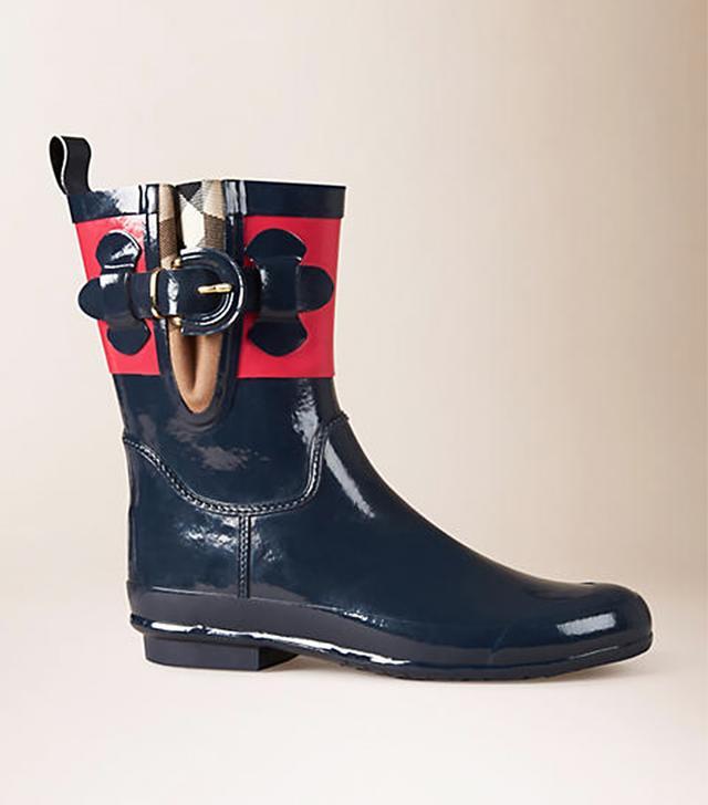 Burberry House Check Detail Color Block Rain Boots