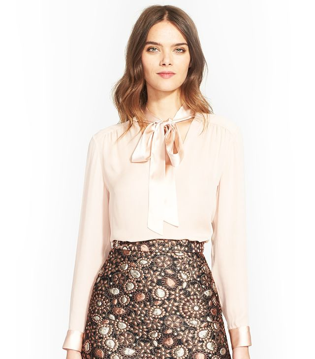Alice + Olivia Irma Tie Neck Silk Blouse