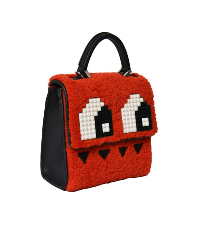 Les Petits Joueurs Mini Alex Eyes Shoulder Bag, Red Merino/Black