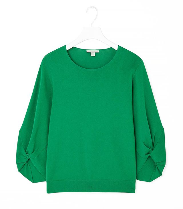 COS Gathered Sleeve Knit Top