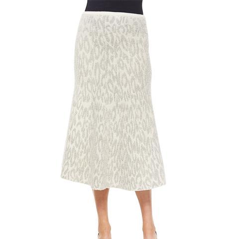 Marvita Leopard-Print Knit Midi Skirt