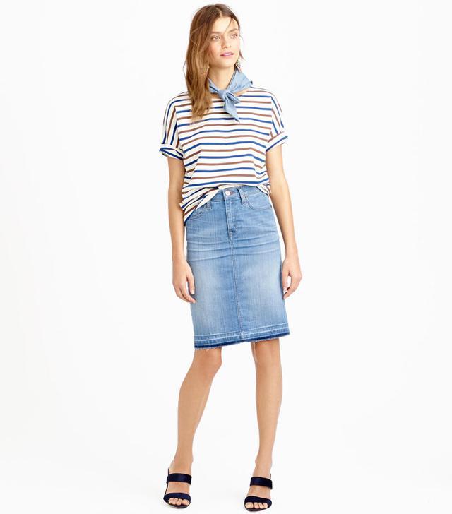 J.Crew Denim Pencil Skirt with Let-Out Hem