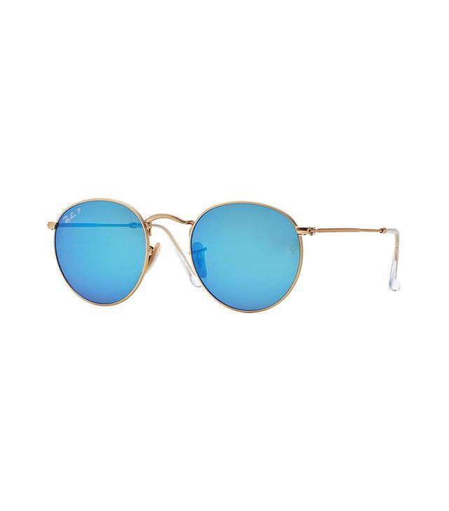 Ray-Ban Round Blue Mirrored Sunglasses