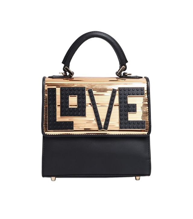 Les Petits Joueurs Mini Alex Love Metallic Leather Bag