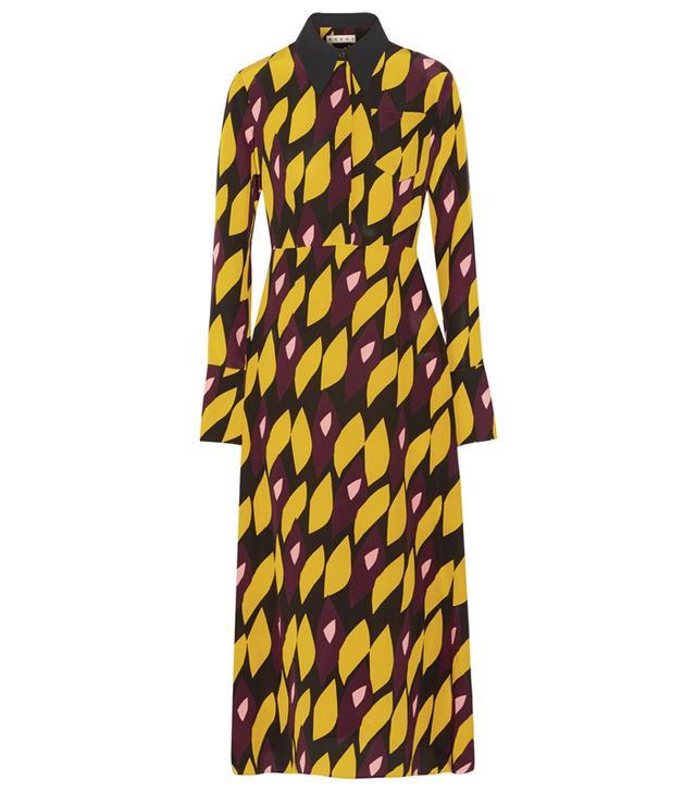 Marni Printed Silk-Blend Crepe Midi Dress