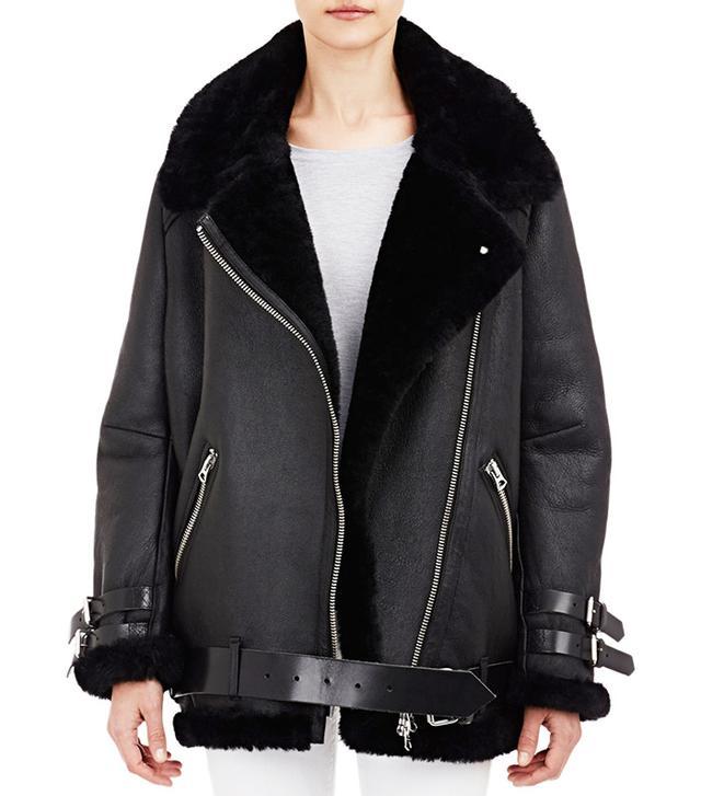 Acne Studios Shearling-Lined Velocite Moto Jacket