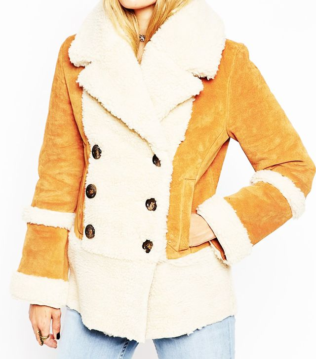 ASOS Suede Shearling Coat in 70's Styling