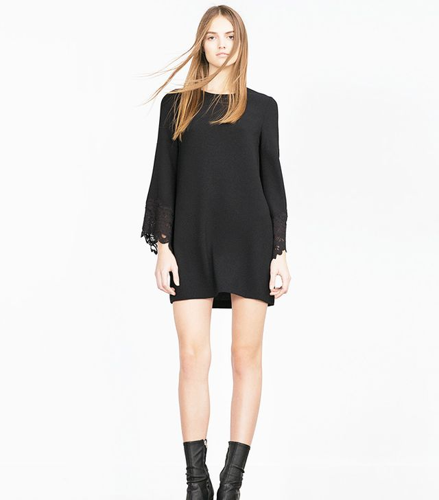 Zara Guipure Lace Flared Sleeve Dress