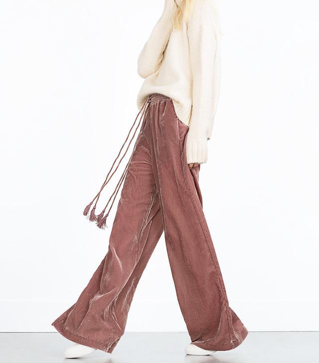 Zara Flowing Velvet Trousers