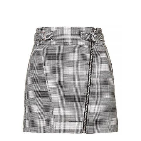 Checkered Biker Mini Skirt