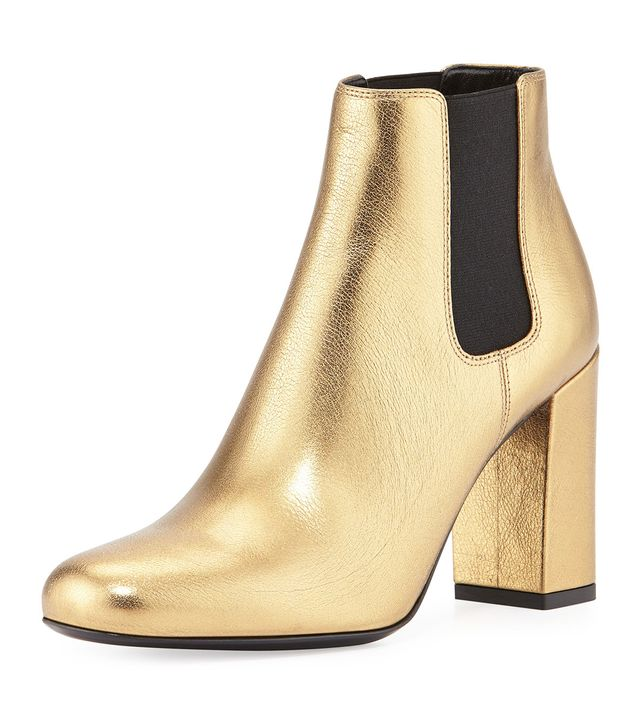 Saint Laurent Babies Metallic Chelsea Boots
