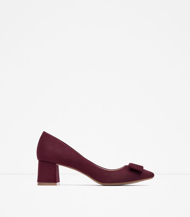 Zara Medium Heel Shoes With Bow