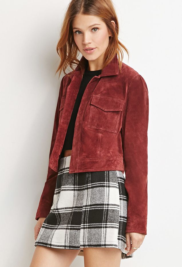 Forever 21 Contemporary Genuine Suede Open-Front Jacket