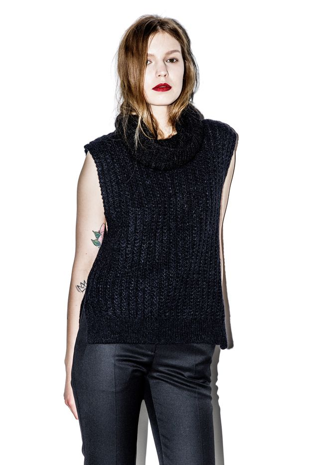 3.1 Phillip Lim Sleeveless Vest in Racked Stitch With Mohair Turtleneck