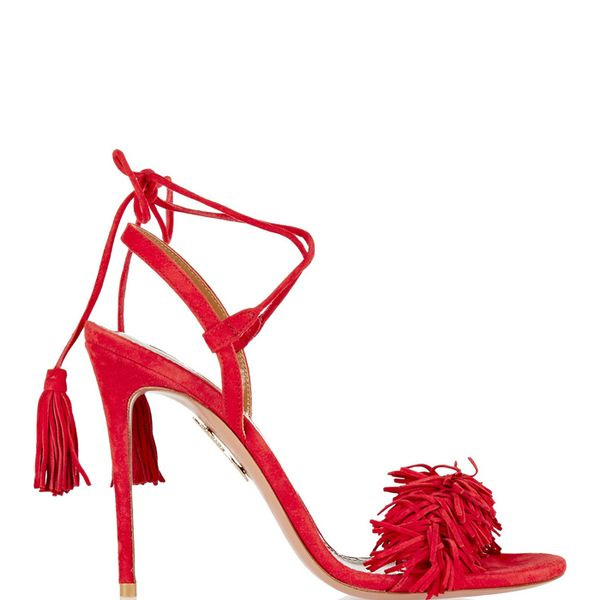 Aquazzura Wild Thing Fringed Suede Sandals in Red Suede