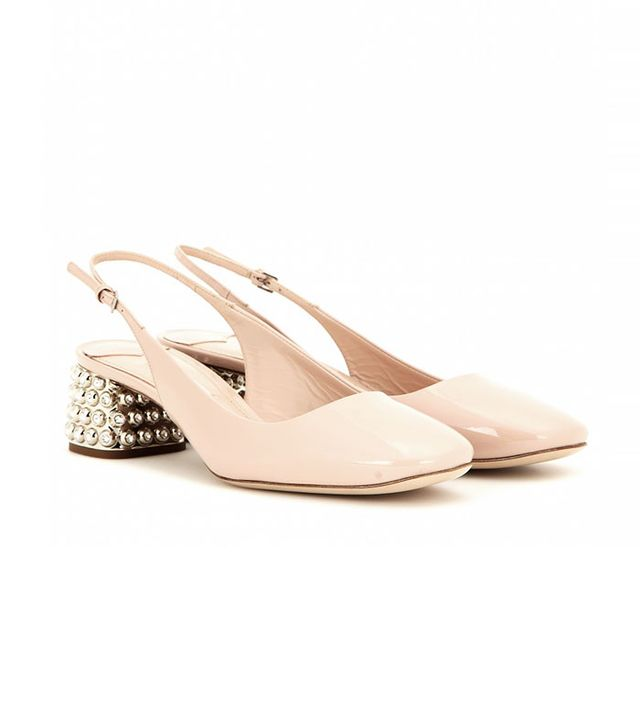 Miu Miu Embellished Patent Leather Slingback Pumps