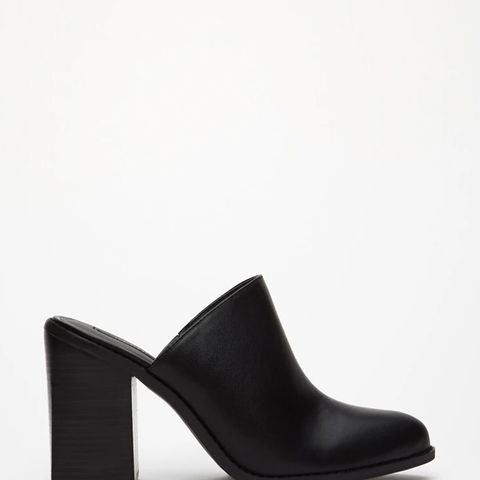 Faux Leather Block-Heeled Mules