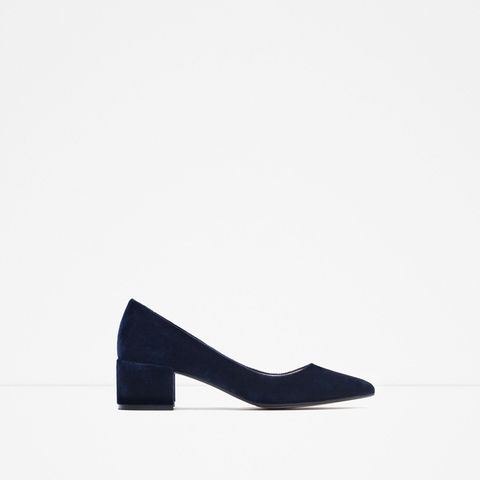 Block Heel Velvet Shoe